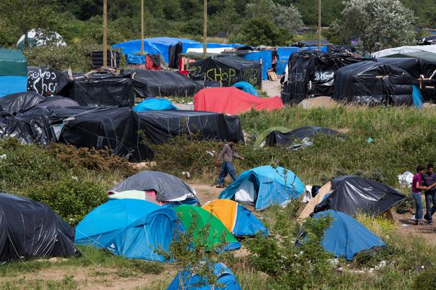 A sea of tarpaulin at the camp in Calais, France. Pic:Mark Condren