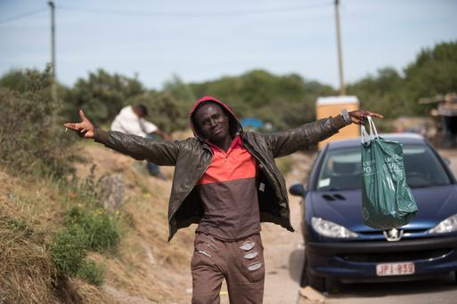 A Sudanese migrant in Calais, France. Pic: Mark Condren