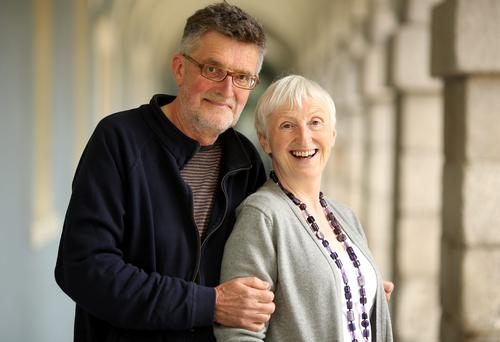 Tall tale: Author Felicity Hayes-McCoy likes husband Wilf Judd's height, and says he's quieter and more reserved while she talks too much. Photo: Gerry Mooney.