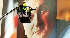 Teflon Taoiseach: A billboard in St Stephen's Green in the run up to the 2002 election but Ahern front and centre.