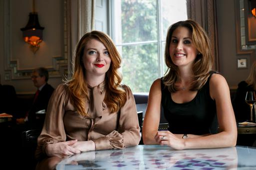 Top of their game: Samantha Barry and Anne Marie Tomchak catch up in London. Photo: John Phillips