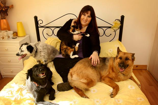 Andrea Smith whith her dogs Jenny, Suzie, Layla and cat Lucy.