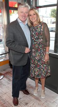 Pat Kenny and Kathy Kenny pictured at the opening of The Cookbook Cafe restaurant in Glasthule, Dublin