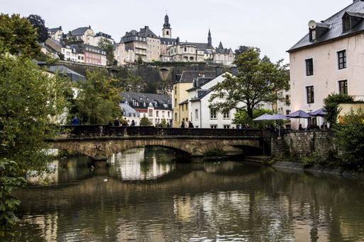 Magical: A view of the city and the river Alzette, in the Grund Quarter of Luxembourg city.