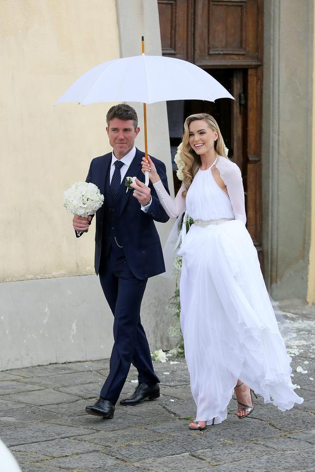 Sarah Morrissey and Pat Jennings Jr. on their wedding day in 2014.