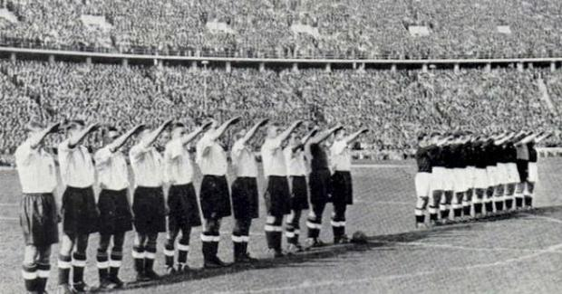 Sieg Heil: Irish team (right) gives the Nazi salute before an international in Bremen in 1939