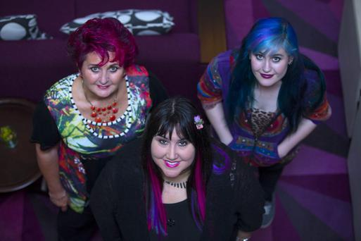 Tina Koumarianos sports vibrant pink hair at 62; Andrea Smith wears different colour hair extensions; Tina's daughter Susie opts for blue