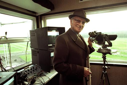 Voice of racing: Peter O'Sullevan in the commentary box in 1997