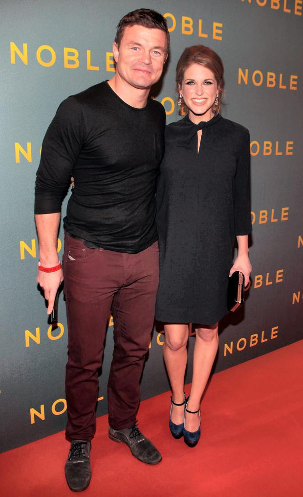 Brian O'Driscoll and Amy Huberman at The Irish Gala Screening of NOBLE at the Savoy Cinema on O'Connell Street, Dublin