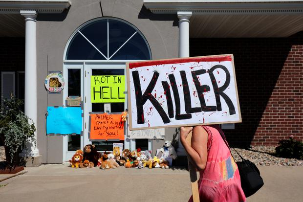 Protesters call attention to the alleged poaching of Cecil the lion, in the parking lot of Dr. Walter Palmer's River Bluff Dental Clinic in Minnesota
