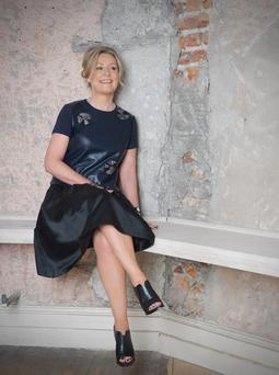 Deirdre Devaney, Arnotts director of fashion, beauty and accessories, wears: Leather top, €435, Raoul; skirt, €280, Peter O'Brien, both Arnotts. Shoes; jewellery, Deirdre's own