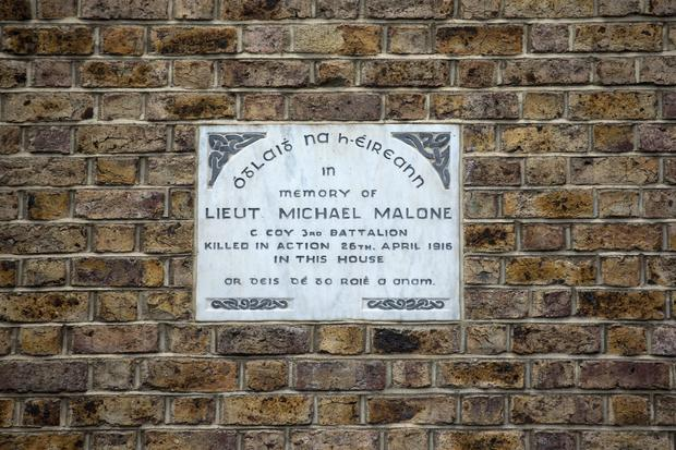 The commemorative plaque for Lieut Michael Malone who died in 1916, at Northumberland Road. Picture: Arthur Carron
