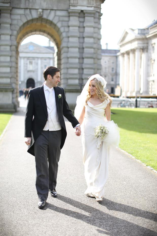 Dearbhail and Tony walked down the aisle at Trinity College chapel. Pictures: Will O'Reilly