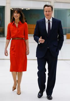 Samantha Cameron with her Prime Minister husband, David