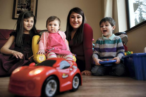 Yazz O'Connor with her daughters Leah, age 5, Sabrina, age 1 and David, age 3. at her home in Castleknock. Case study on shopping. Picture:Arthur Carron