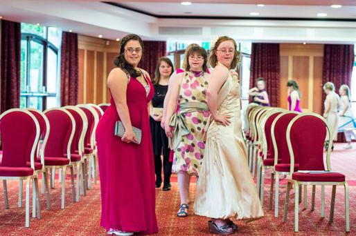 Strutting their stuff: Pictured are (LtoR) Tara Mooney (26) from Santry and Sarah Boyne (32) from Glasnevin at the dress rehearsal for the Down Syndrome Ireland Fashion Show ahead of their fundraiser next week at The Radisson, Stillorgan. Photo: El Keegan