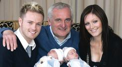 Family: Nicky with father-in-law Bertie and wife Georgina and the twins in 2007