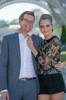 Leading lady: John Green and model Cara Delevingne have been promoting 'Paper Towns' all over the world. Photo: Dominique Charriau/WireImage