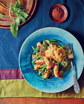 Squid with chillies and holy basil