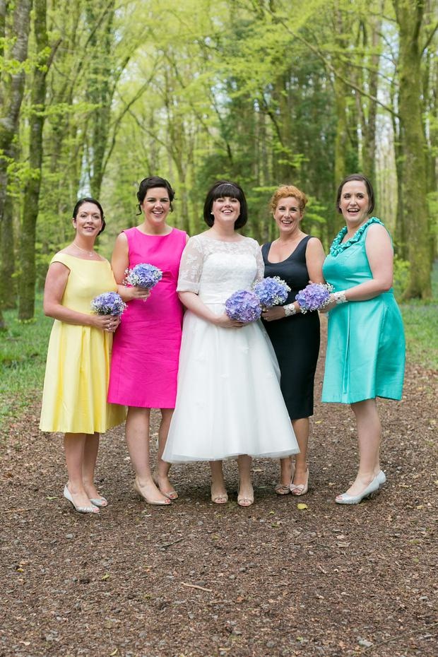 Fidelma with her four bridesmaids who were let choose their own wedding dresses