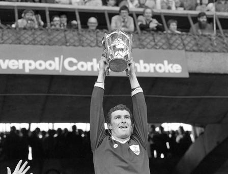 Galway Captain Joe Connelly holds up the McCarthy Cup at Croke Park after their victory in the 1980 All Ireland Hurling Final