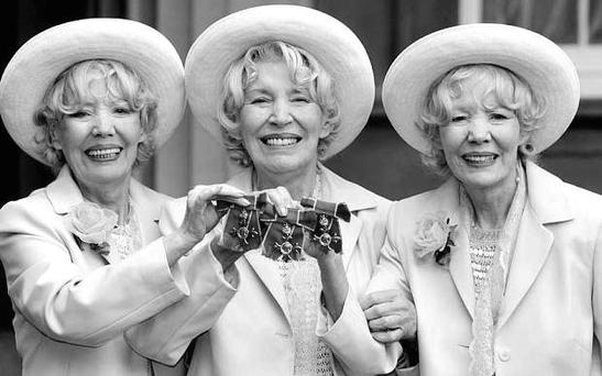 Girl power: Joy (centre) with her sisters Teddie and Babs