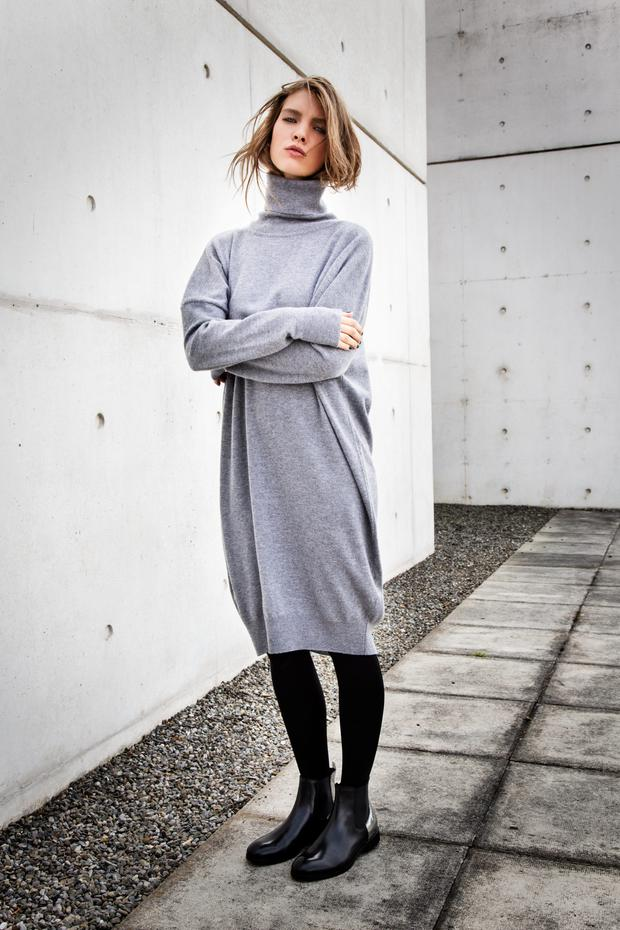 Grey merino wool dress with polo neck, €129, in store mid- October; black Chelsea boot with silver heel, €129, in store end September.