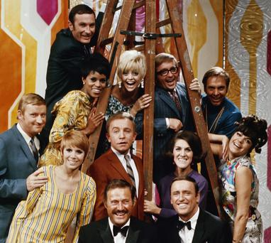 Funny girls: 1960s TV comedy Celebrity Laugh-In made a star of Judy Carne (bottom left) and Goldie Hawn (top right) who went on to find global fame in Hollywood.