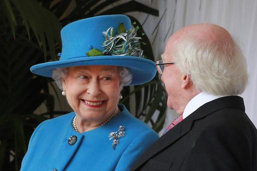 Triumph: Queen meeting President Higgins