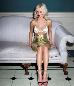 Gracie O'Mahony wears: Bikini top (part of set), Missoni, Brown Thomas Skirt, Umit Kutluk Shoes; earrings, both River Island. Photo: Kip Carroll