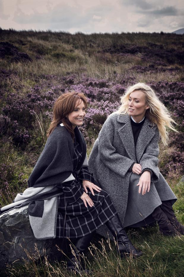 Victoria wears: Coat, €539, Weekend Max Mara; knit, €499, Marni; shirt, €190, Isabel Marant Etoile; skirt, €380, Theory, all at Brown Thomas. Boots, €85, River Island; Victoria's friend and costar Joanne Mitchell wears: Shawl, €220, No Mans Land, Havana. Check tunic, €1,885, Lanvin, Brown Thomas
