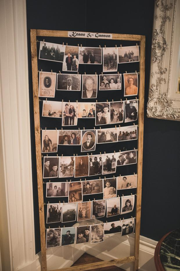 Talking point: Dara constructed two frames to hang photos of both sides of the family