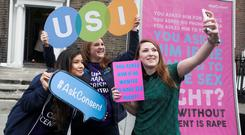 Campaigning: Maria Marcos, Siona Cahill and Aoife Ni Shuilleabhain launch the Dublin Rape Crisis Centre's Ask Consent Awareness Raising Campaign.