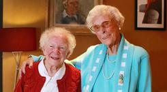 Film stars: May Spain (101, far left) and Bessie Nolan (104) appear in Older than Ireland. Picture: Frank McGrath