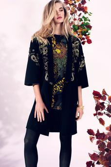 Beaded kimono jacket, €159; dress, €129, Biba