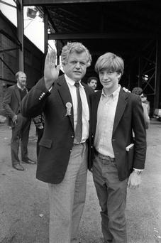 Family misfortunes: Patrick Kennedy with his father Ted, who he claims had a drinking problem, in 1980