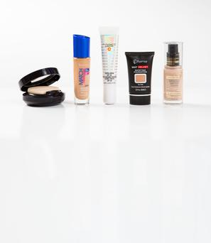 Pictured, from left, Estee Lauder Double Wear Make-up To Go; Rimmel Match Perfection Foundation SPF 20; Mac Lightful C Tinted Cream With Radiance Booster SPF 30; Flormar Mat Velvet Matifying Foundation; Max Factor Miracle Match Foundation. Photo: Kip Carroll