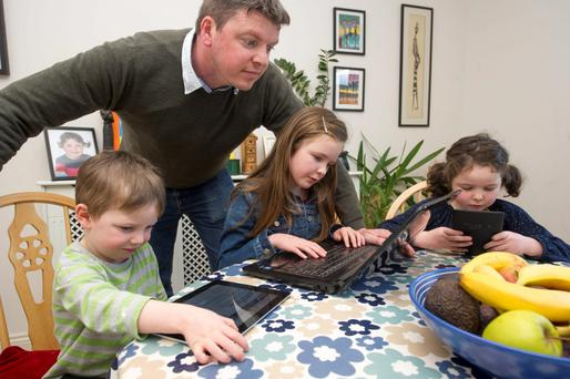 Writer Graham Clifford with his three children Aodhain, Aoife and Molly