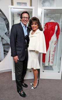 Queen of style: Joan Collins with her husband Percy Gibson at the Newbridge Silverware Museum Style of Icons.