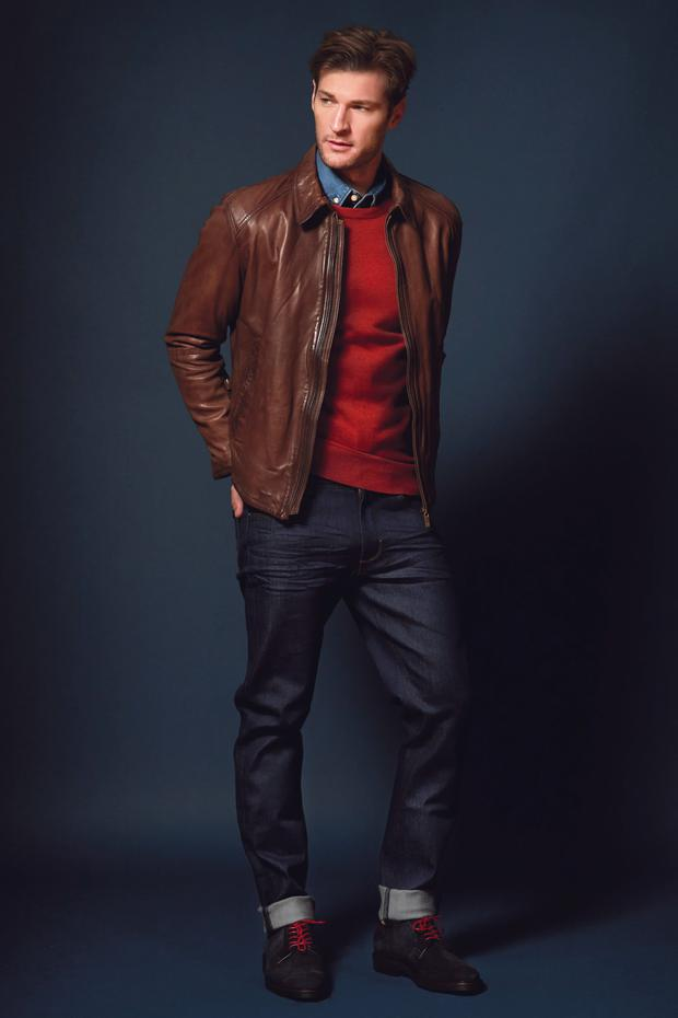 Shirt, €29.99, H&M; red jumper, €119, Tommy Hilfiger; brown leather jacket, €275 and jeans, €49.95, Massimo Dutti; shoes, €175, Gant