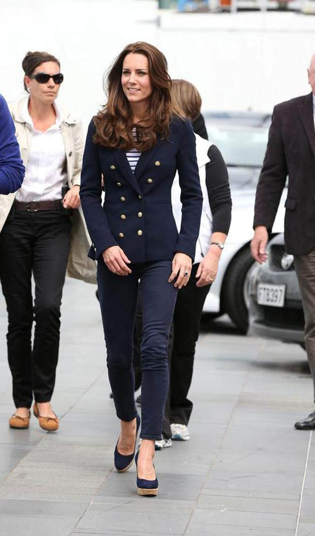 High street: Kate Middleton keeps it classic in a navy blazer from Zara