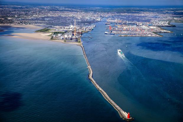 The Great South Wall. Captured on a summer's day, the iconic breakwater stretches from thePoolbeg Lighthouse to Ringsend and the city beyond. Taken from 'Dublin: The View from Above' by Dennis Horgan, published by The Collins Press (2015)