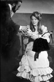 Sabina Coyne (now the wife of President Higgins) and Johnny Murphy in Henrik Ibsen's Hedda Gabler in the Focus Theatre in 1970. Photo by Fergus Bourke.