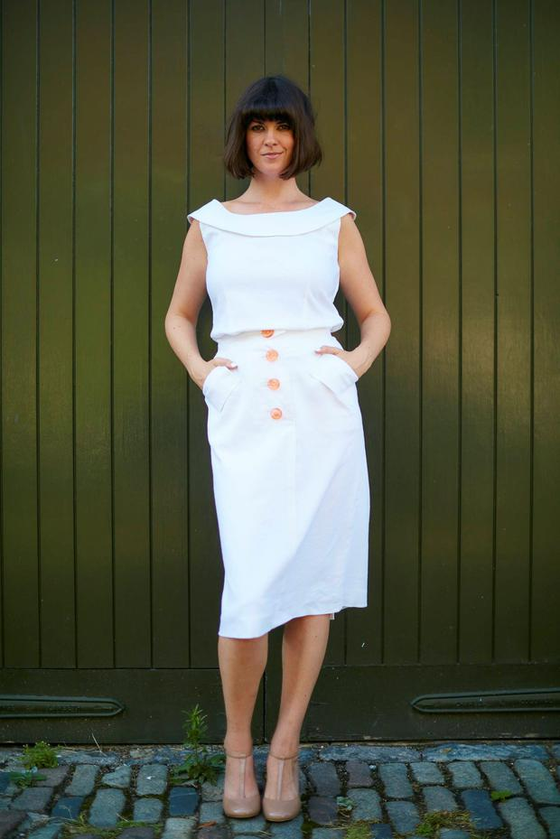 Dawn O'Porter wearing one of her fashion creations from BOB, her pop-up shop.