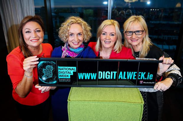 Innovative women: Norah Casey, publisher and broadcaster; Anne O Leary, CEO, Vodafone Ireland; Louise Phelan, vice president of global operations at PayPal and Dee Forbes, president and managing director of Discovery Networks Northern Europe at the launch of National Digital Week.