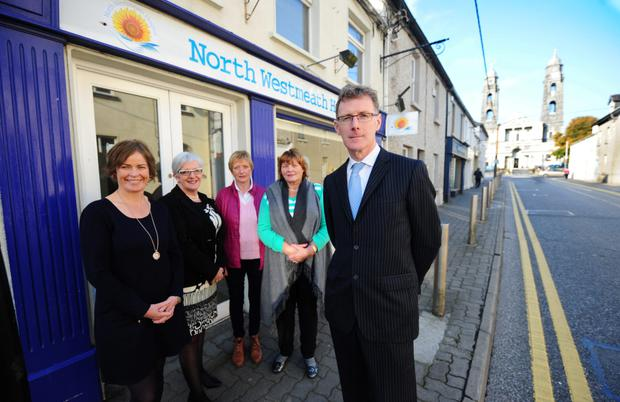 Focus on homecare: John Shaw, chairman of the North Westmeath Hospice group, with volunteers, from left: Breege McArdle, Veronica Larkin, Teresa Collentine and Helen Purcell, outside their office in Mullingar, Co Westmeath. Photo: James Flynn/APX