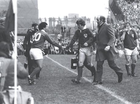 Crossing the line: When Tony Ward came on for Ollie Campbell at Lansdowne Road in the 1983 Five Nations victory over England.