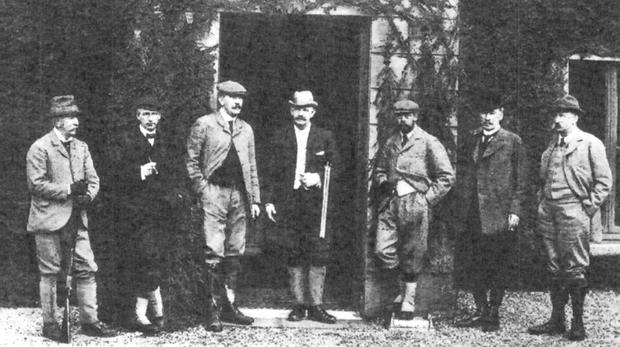 Royal guest: The Prince of Wales Cocktail Bar at Ashford Castle is named after the Prince who visited the castle in 1905 for a woodcock shoot. Pictured at the shoot over a century ago were, from left, Lord Brandon, the Prince of Wales (later George V), Lord Ardilaun and Percy La Touche.