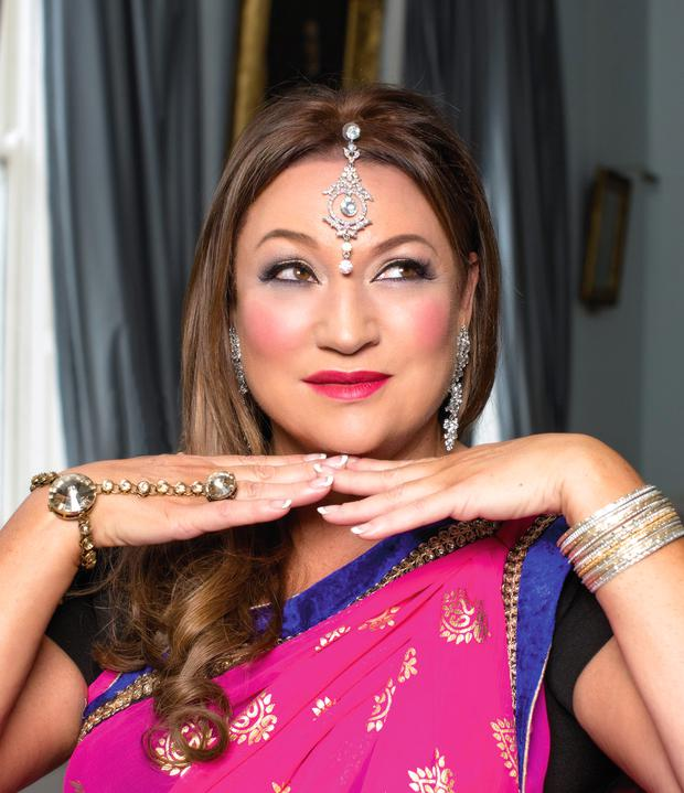 Norah Casey wore Sarees from Maharani, 10 Market Arcade, South Great George's St, D2; tel: (087) 905-4489 All jewellery and accessories, Norah's own. Photo: Kip Carroll