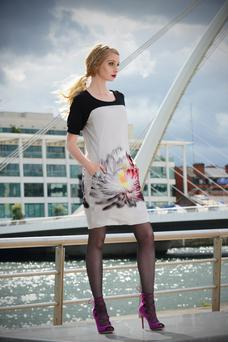 Liz Quin AW15 collection jersey tunic dress with mono print, €149.